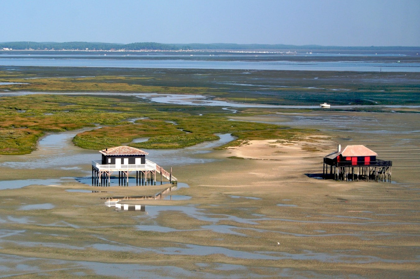 Bassin d Arcachon Cabanes tchanquees maree basse